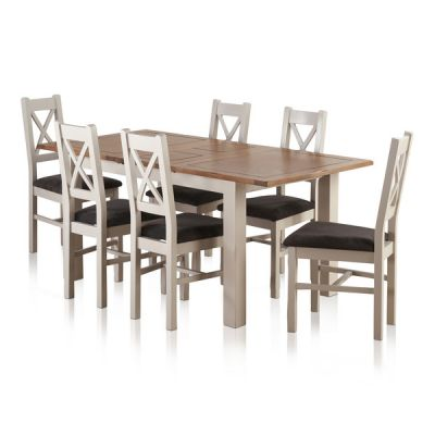 """Kemble Rustic Solid Oak and Painted 4ft 7"""" x 3ft Extending Dining Table & 6 Charcoal Kemble Chairs"""