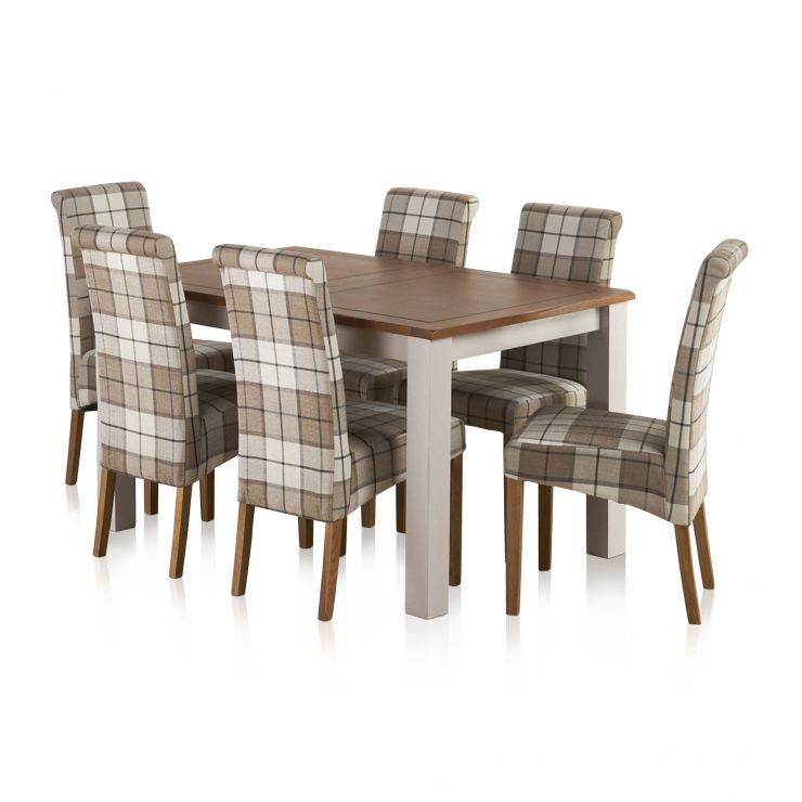"""Kemble Rustic Solid Oak and Painted 4ft 7"""" x 3ft Extending Dining Table with 6 Checked Brown Chairs"""