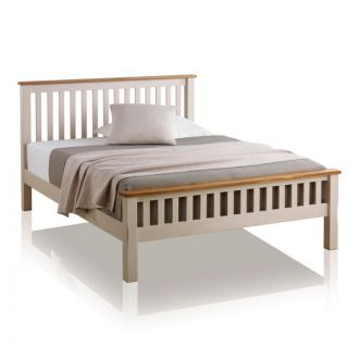 Kemble Rustic Solid Oak and Painted 5ft King-Size Bed