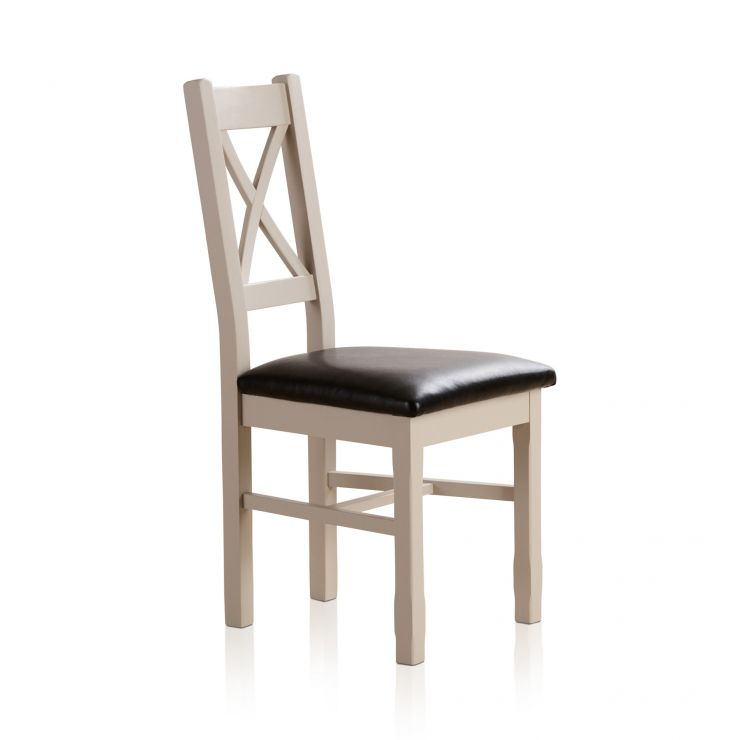 Kemble Rustic Solid Oak and Painted and Black Leather Dining Chair - Image 3