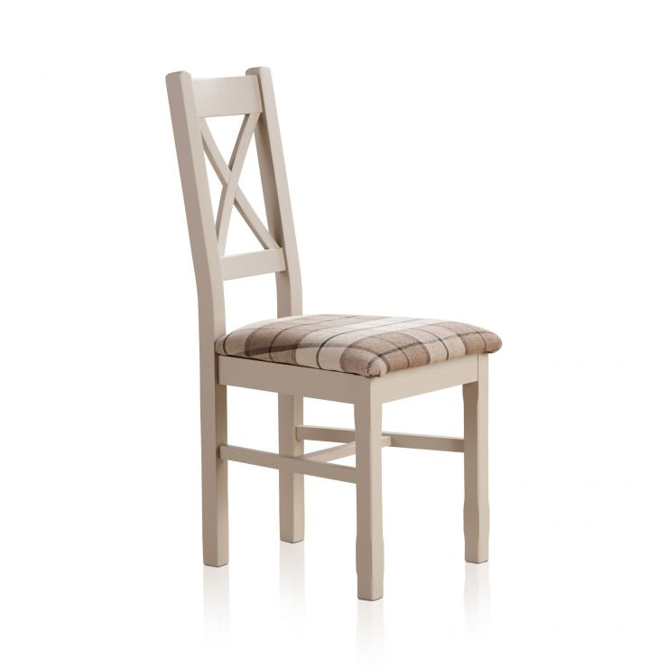 Kemble Rustic Solid Oak and Painted and Check Brown Fabric Dining Chair - Image 3