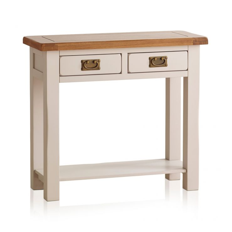 Kemble Painted 2 Drawer Console Table In Rustic Solid Oak
