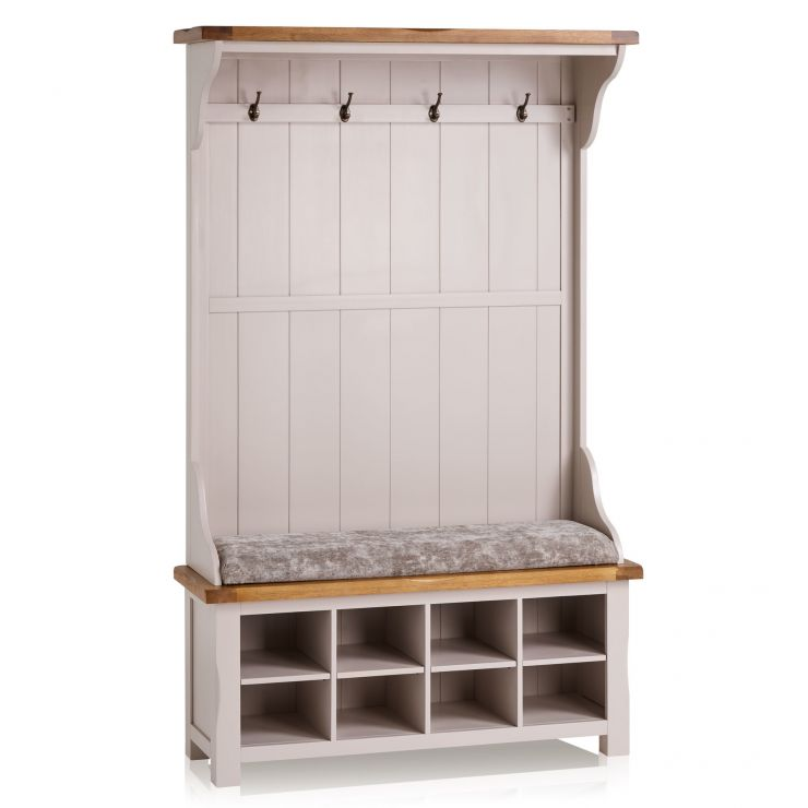 Kemble Rustic Solid Oak and Painted Hallway Unit with Plain Truffle Fabric Hallway Pad - Image 6
