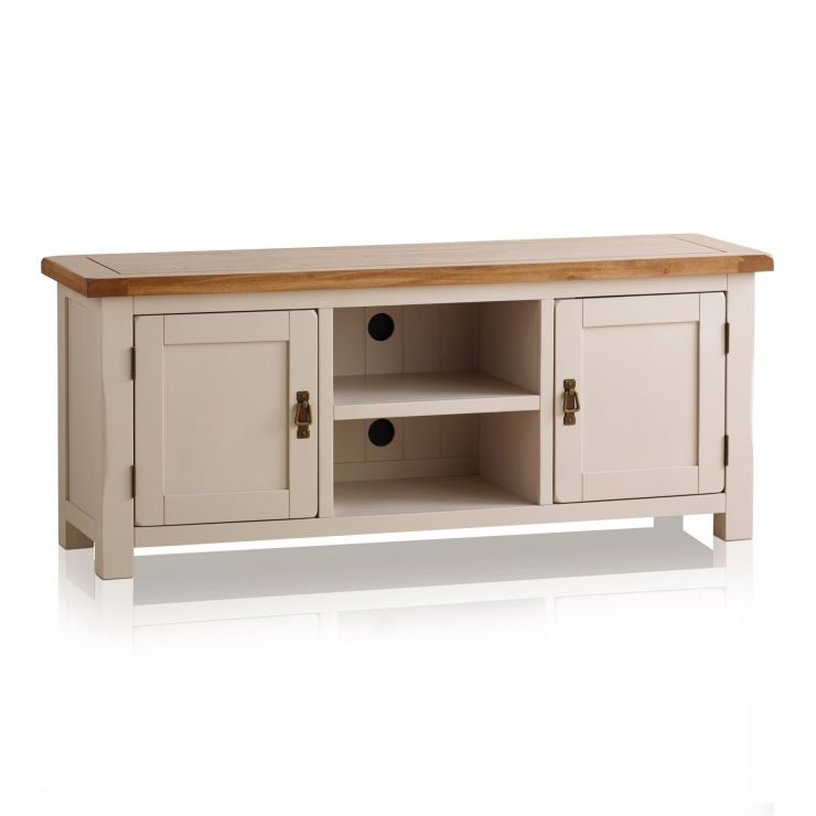 Kemble Rustic Solid Oak and Painted Large TV Cabinet - Image 5