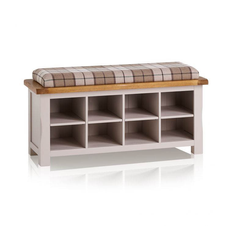 Kemble Rustic Solid Oak and Painted Shoe Storage with Check Brown Fabric Hallway Pad