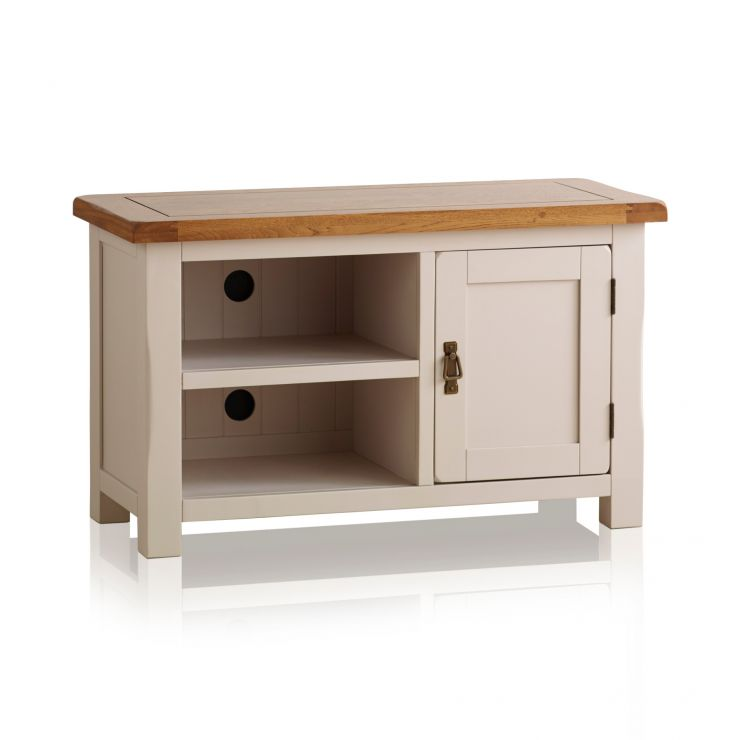 Kemble Rustic Solid Oak and Painted Small TV Cabinet - Image 5