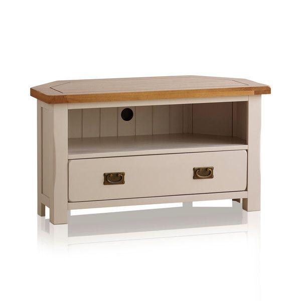 Kemble Rustic Solid Oak and Painted TV Corner Cabinet