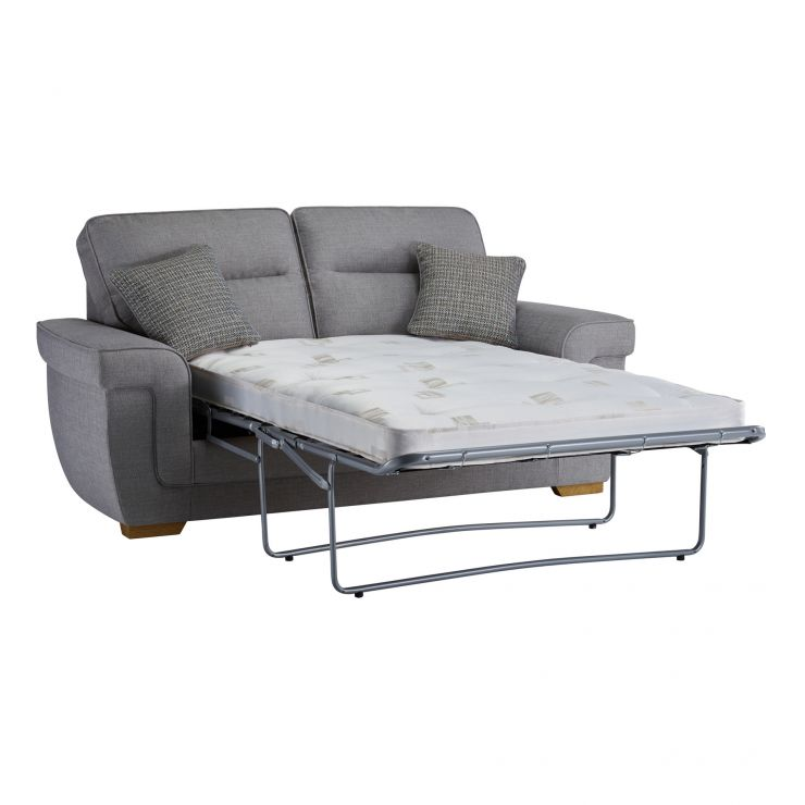 Kirby 2 Seater Sofa Bed with Deluxe Mattress in Barley Silver - Image 1