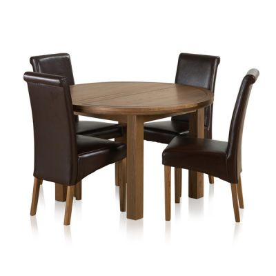 Knightsbridge 4ft Rustic Solid Oak Round Extending Dining Table + 4 Scroll Back Brown Leather Chairs