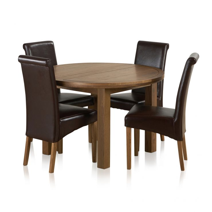 Knightsbridge 4ft Rustic Solid Oak Round Extending Dining Table + 4 Scroll Back Brown Leather Chairs - Image 1