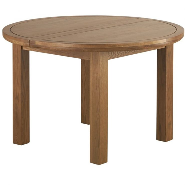 Knightsbridge Rustic Solid Oak 4ft Round Extending Dining Table - Image 5
