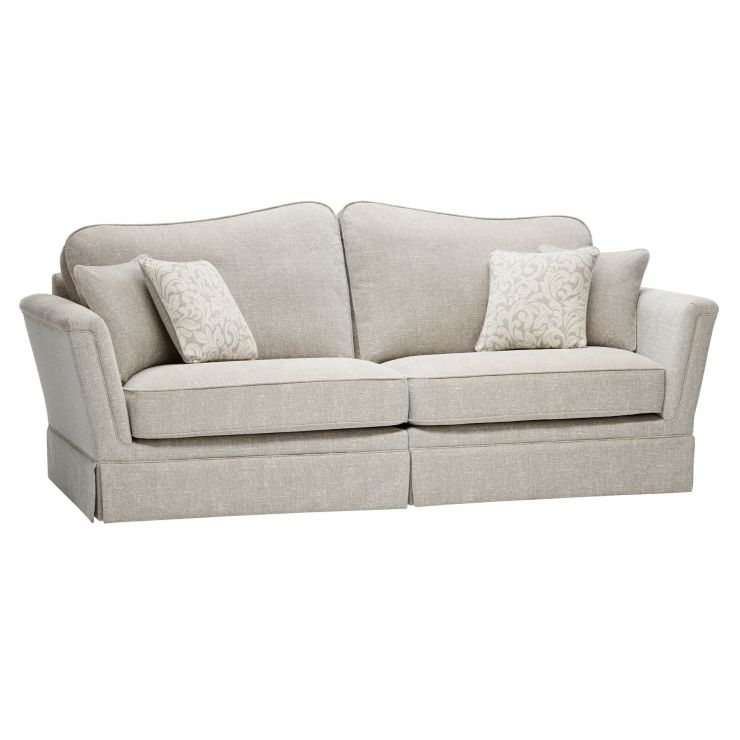 Lanesborough 4 Seater Sofa in Larkin Plain Cream Fabric - Image 6