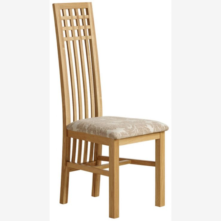 Lattice Back Natural Solid Oak and Patterned Beige Fabric Dining Chair - Image 4