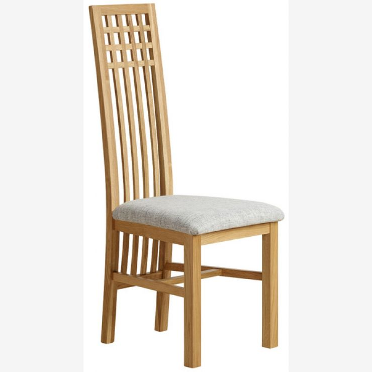 Lattice Back Natural Solid Oak and Plain Grey Fabric Dining Chair - Image 4