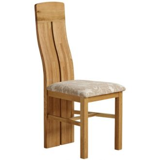 Lily Natural Solid Oak and Beige Patterned Fabric Dining Chair