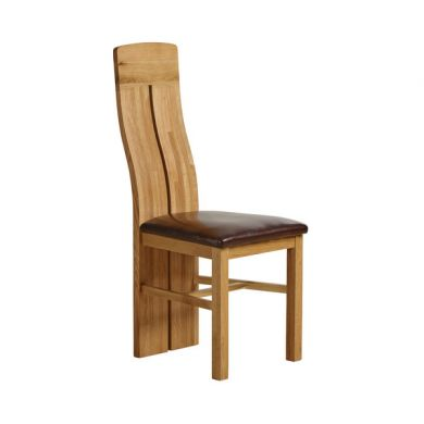 Lily Design Solid Oak Dining Chair Frame + Chair Pad - Brown Leather