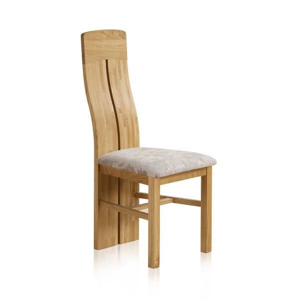 Lily Natural Solid Oak and Patterned Silver Fabric Dining Chair