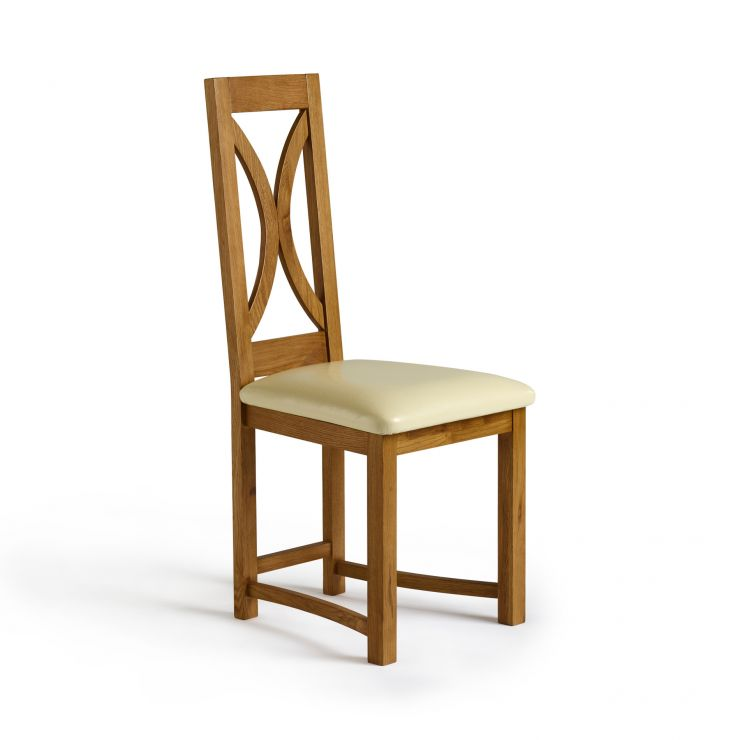 Loop Back Rustic Solid Oak and Cream Leather Dining Chair