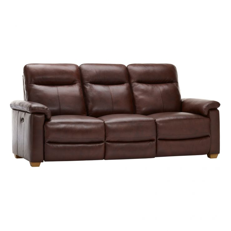 Malmo 3 Seater Sofa with 2 Electric Recliners - 2 Tone Brown Leather - Image 12