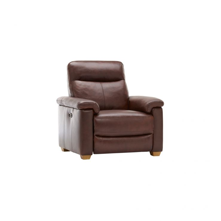 Malmo Armchair with Electric Recliner - 2 Tone Brown Leather - Image 7