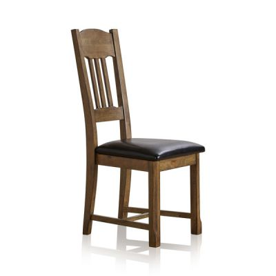 Manor House Vintage Solid Oak and Black Leather Dining Chair