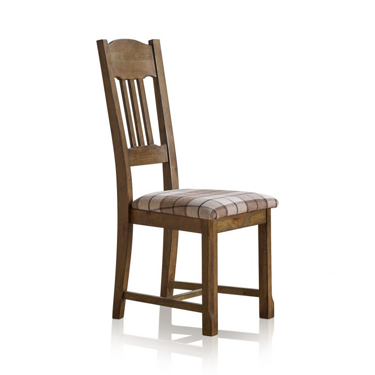Manor House Vintage Solid Oak and Check Brown Fabric Dining Chair - Image 3