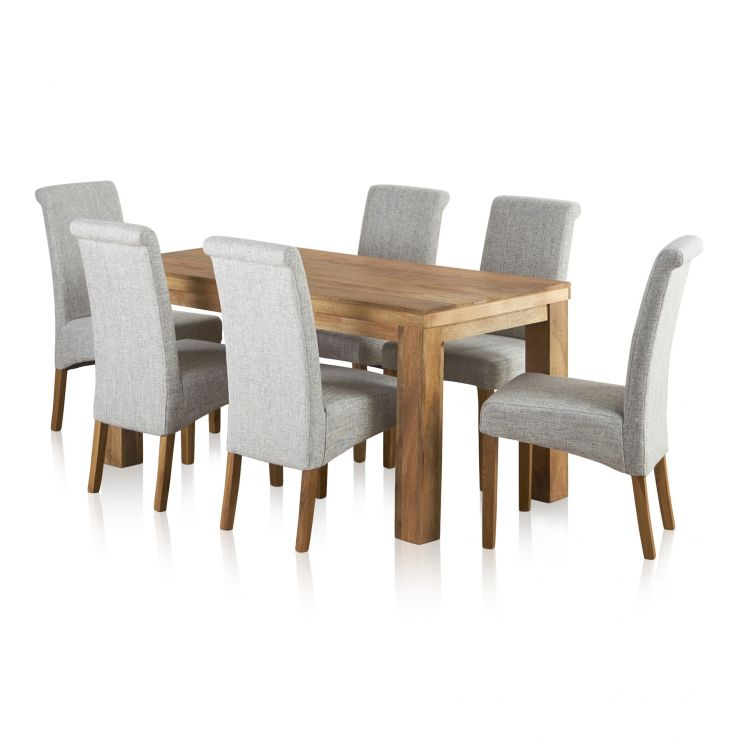 Mantis Light Natural Solid Mango Dining Set - 5ft Table with 6 Scroll Back Plain Grey Fabric Chairs - Image 6