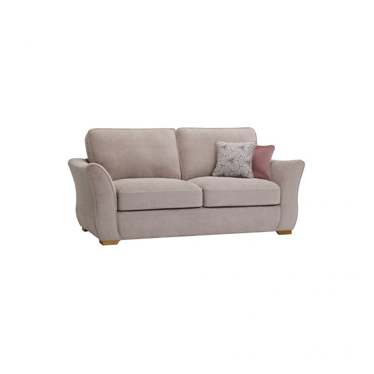 Monaco 3 Seater Sofa in Rich Stone Fabric with Blush Scatters