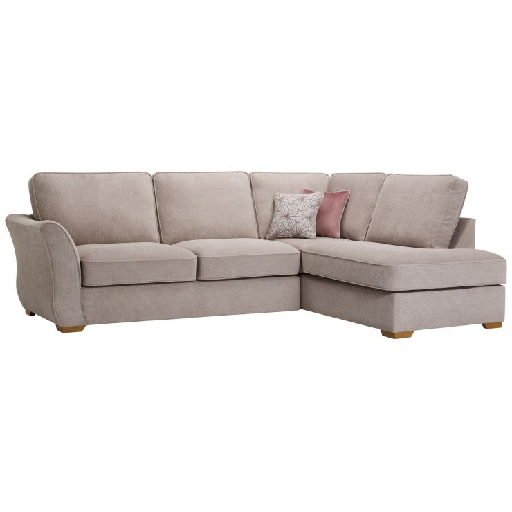 Monaco Left Hand High Back Corner Sofa in Rich Beige Fabric with Blush Scatters