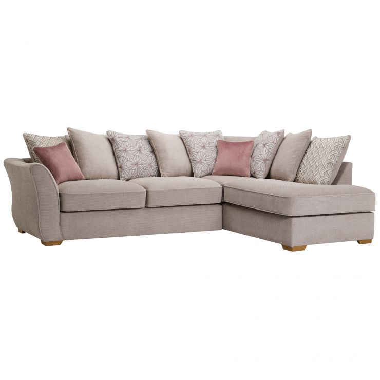 Monaco Left Hand Pillow Back Corner Sofa in Rich Beige Fabric with Blush Scatters