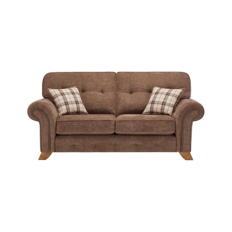 Montana 2 Seater High Back Sofa in Brown with Tartan Scatters - Image 1