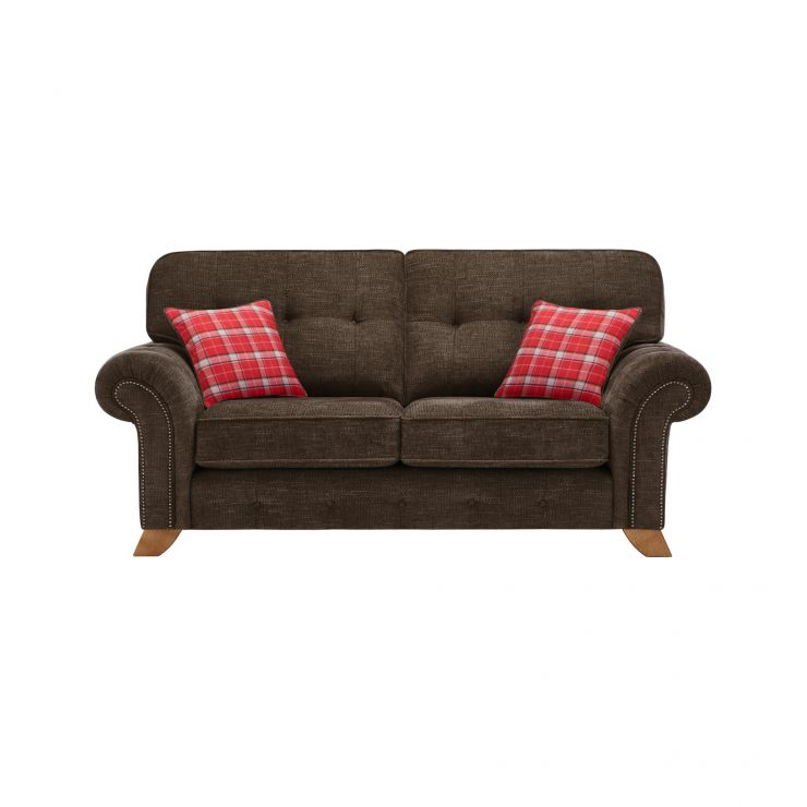 Montana 2 Seater High Back Sofa in Charcoal with Tartan Scatters - Image 1