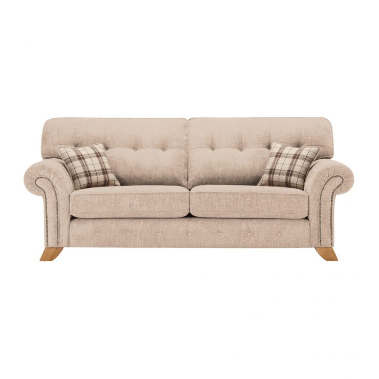 Montana 3 Seater High Back Sofa in Beige with Tartan Scatters - Image 1