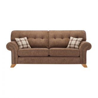Montana 3 Seater High Back Sofa in Brown with Tartan Scatters