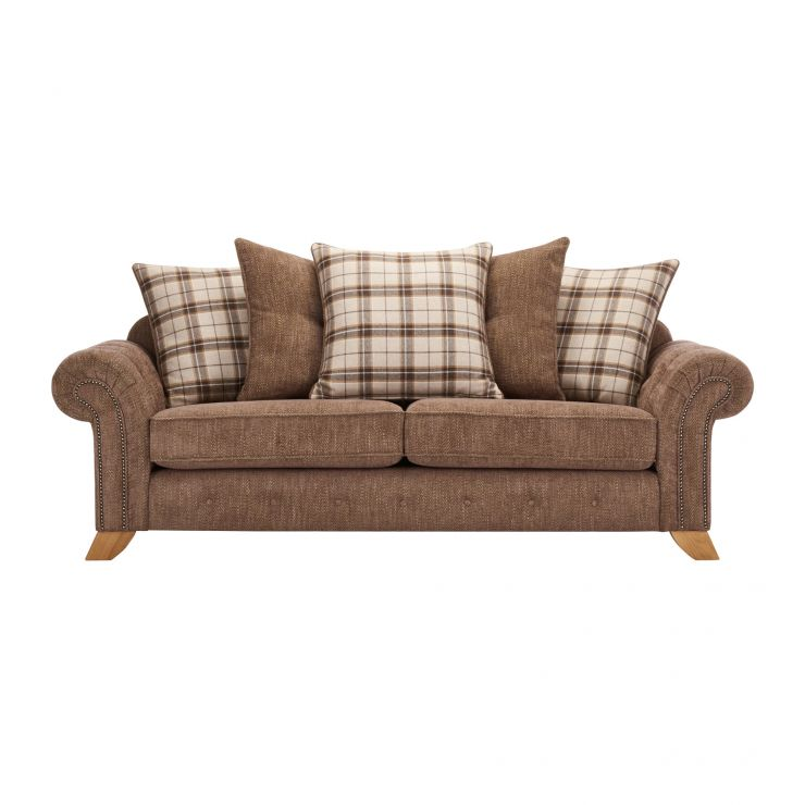 Montana 3 Seater Pillow Back Sofa in Brown with Tartan Scatters - Image 1