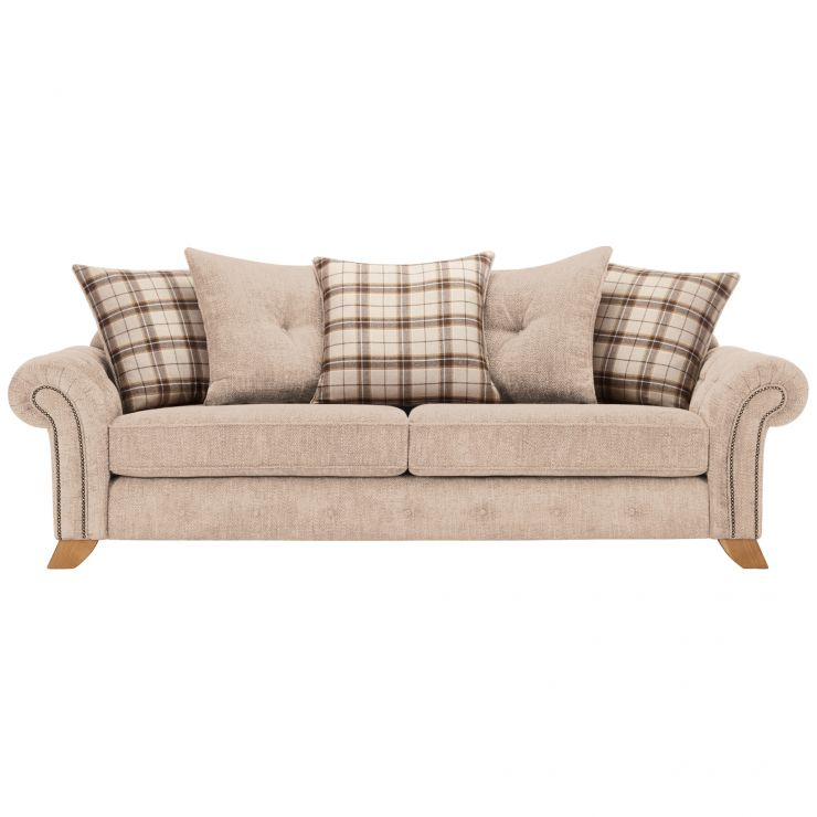 Montana 4 Seater Pillow Back Sofa in Beige with Tartan Scatters - Image 1