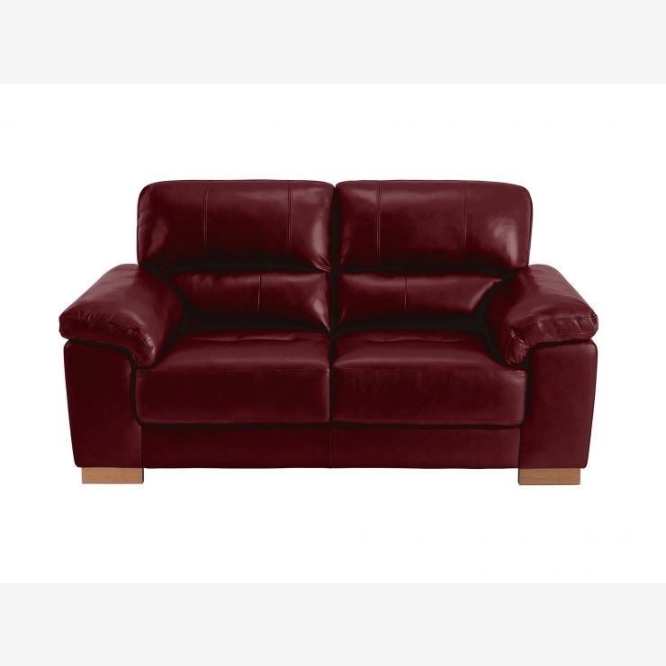 Monza 2 Seater Sofa - Burgundy Leather - Image 2