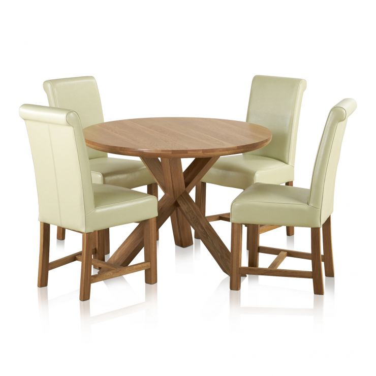 "Trinity Natural Solid Oak Dining Set - 3ft 7"" Round Table with 4 Braced Scroll Back Cream Leather Chairs"
