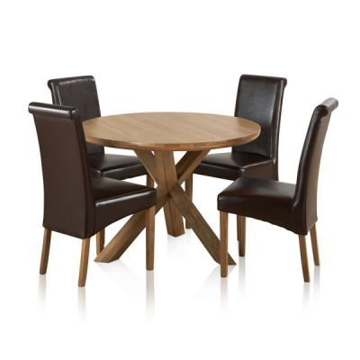 "Trinity Natural Solid Oak Dining Set - 3ft 7"" Round Table with 4 Scroll Back Brown Leather Chairs"