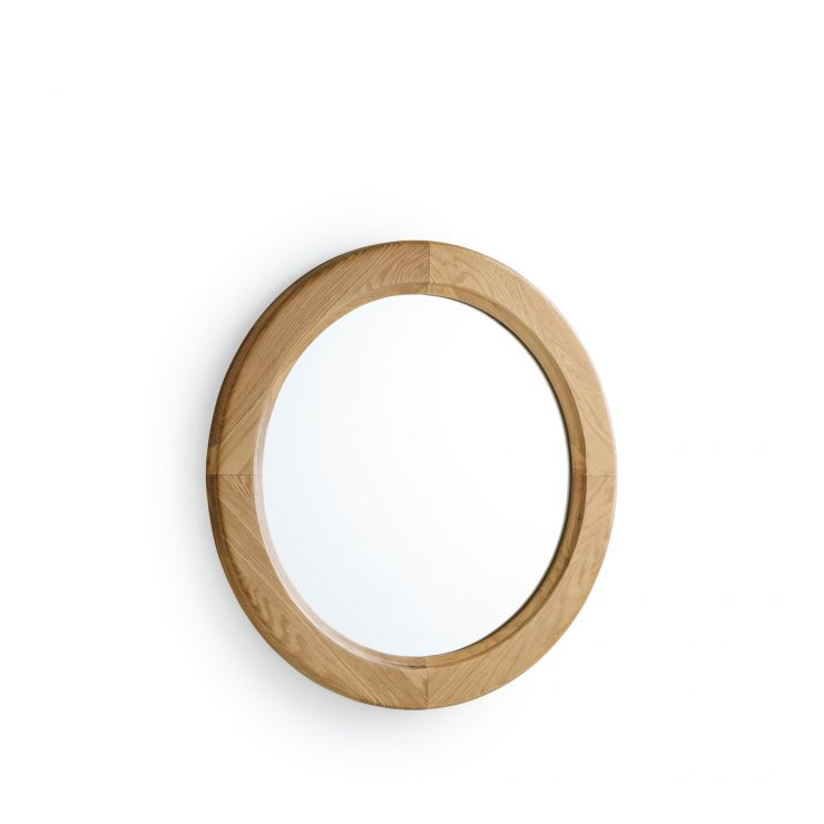 Natural Solid Oak Round Wall Mirror