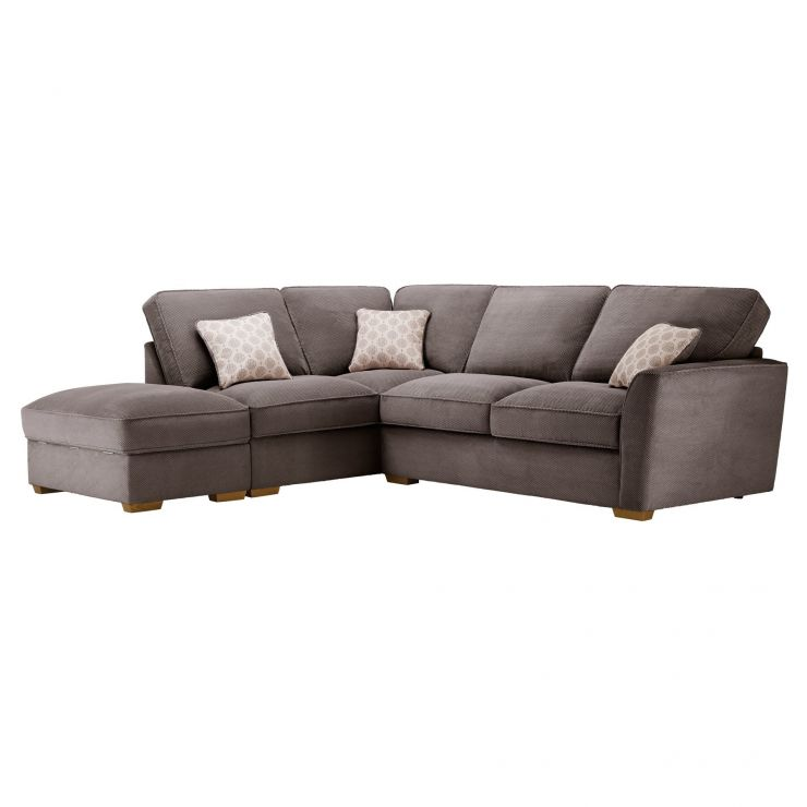Nebraska Corner High Back Sofa with Storage Footstool Right Hand in Aero Charcoal with Silver Scatters