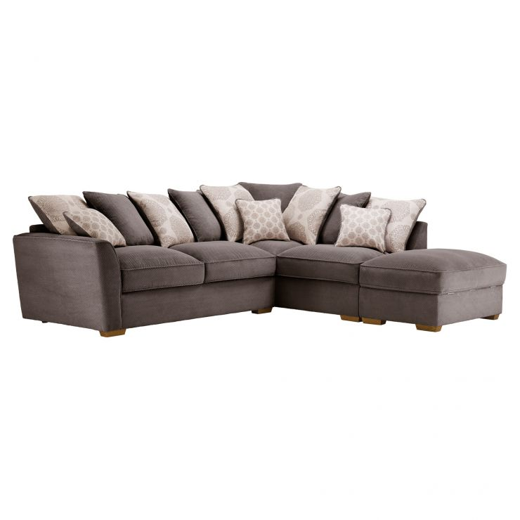 Nebraska Corner Pillow Back Sofa with Storage Footstool Left Hand in Aero Charcoal with Silver Scatters