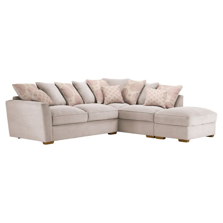 Nebraska Corner Pillow Back Sofa with Storage Footstool Left Hand in Aero Fawn with Rose Scatters - Image 4