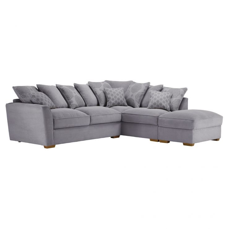 Nebraska Corner Pillow Back Sofa With Storage Footstool Left Hand In Aero Silver With Silver Scatters