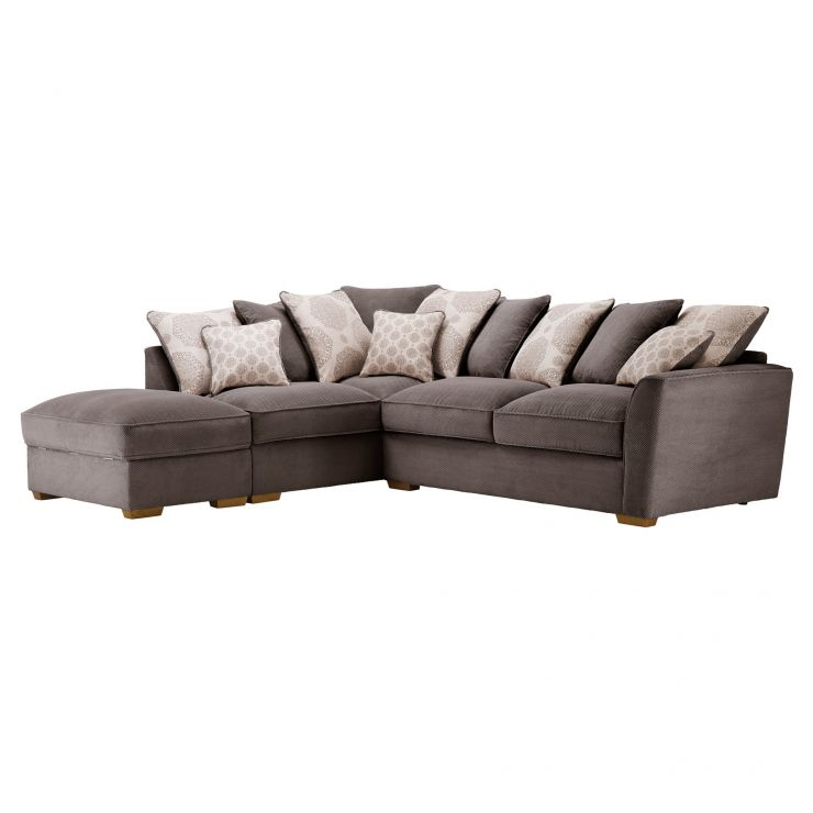 Nebraska Corner Pillow Back Sofa with Storage Footstool Right Hand in Aero Charcoal with Silver Scatters - Image 4