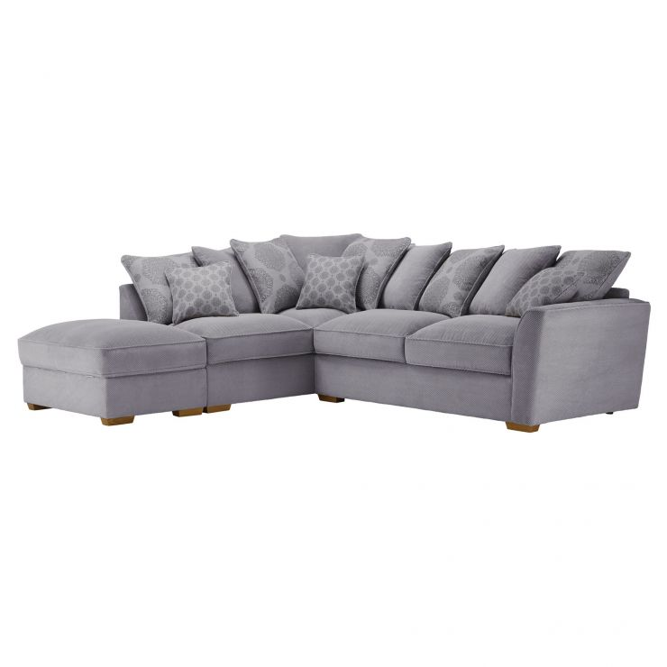 Nebraska Corner Pillow Back Sofa With Storage Footstool Right Hand In Aero Silver With Silver Scatters