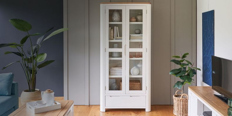 Mango and Painted Display Cabinets