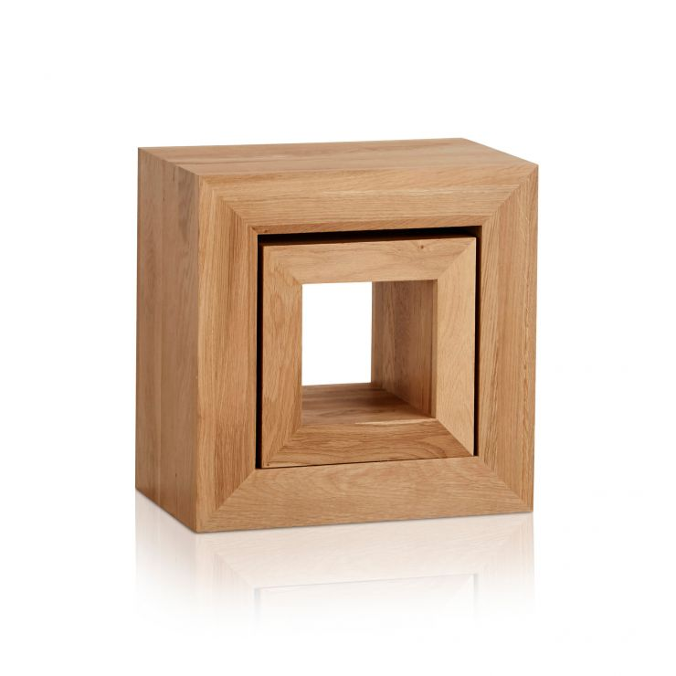 Oakdale Natural Solid Oak 2 Cube Nest of Tables - Image 4
