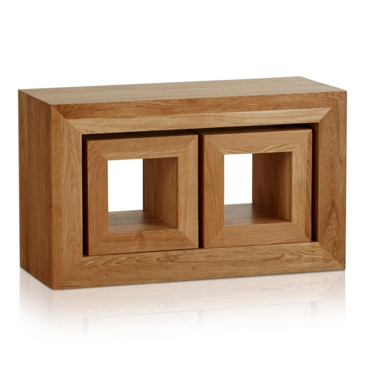 Oakdale Natural Solid Oak 3 Cube Nest of Tables - Image 1