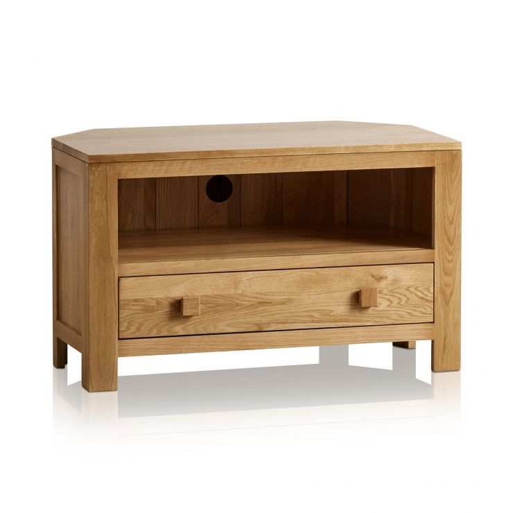 Oakdale Natural Solid Oak Corner TV Cabinet - Image 4